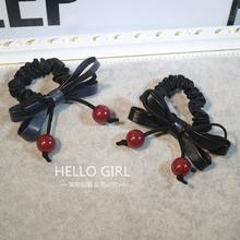 查看韩国新款可爱樱桃发绳红色珍珠流苏皮质蝴蝶结百搭发圈韩版头饰女