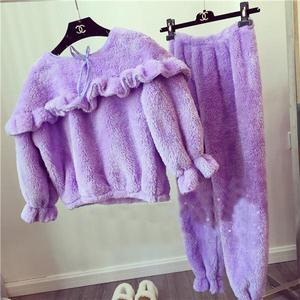 可人2015冬装新款韩国东大门保暖软绵绵上衣+长裤睡衣套装女F126