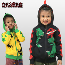 GASBAG儿童个性潮牌卫衣秋冬季女童装纯棉连帽上衣男童加绒外套