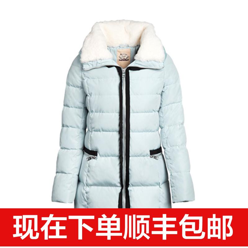 拉夏贝尔2015冬装新款正品纯色直筒双色毛领羽绒服30006182
