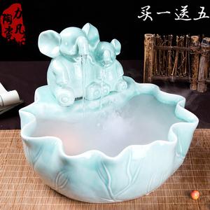 景德镇陶瓷客厅风水流水喷泉摆件乔迁开业高档礼物大象加湿器摆设价