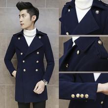 查看秋冬装男式羊毛呢大衣中长款长衣英伦青年修身型超长风衣尼子外套