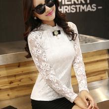 斯露格2017秋新立领蕾丝衫韩版修身大码上衣白色蕾丝打底衫女长袖