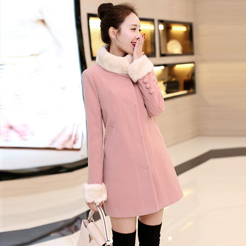 2015秋冬装新款大码女装朵以韩版加厚毛呢外套女呢子大衣中长款潮