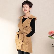 女式夹克休闲外套2017新品全棉无袖中长款连帽纯色薄女式风衣外套
