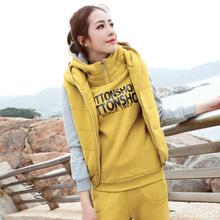 2017冬季套装韩版修身卫衣三件套加厚加绒连帽卫衣休闲套装外套女