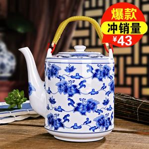 欣茂 景德镇青花陶瓷茶壶 耐高温瓷壶大容量凉水壶大号提梁壶单壶
