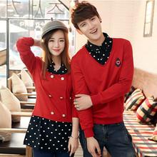 查看情侣 秋季冬装装男上衣卫衣连衣裙女装衬衫立领假两件韩版长袖