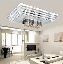 LED客厅灯长方形简约现代客厅吸顶灯水晶灯高雅简洁大气无极调光