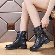 查看秋冬新款欧美复古平底大码女短靴机车靴子马丁靴厚底骑士靴女马靴