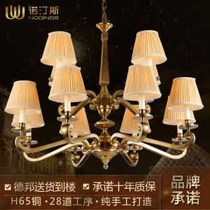 复式客厅奢华铜吊灯 欧式大厅卧室纯铜吊灯价格:$5500元-全铜吊