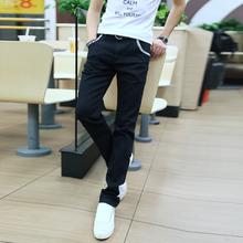 查看加绒加厚韩版修身男士小脚裤 英伦铅笔纯黑色弹性裤 男装潮牛仔裤
