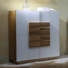 花园公寓 全实木 橡木斗柜 简约现代白色玻璃斗柜 设计师家具