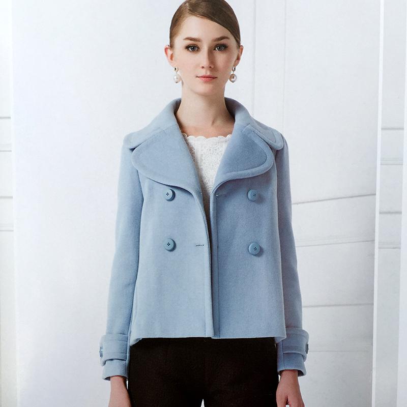 秋褶品牌专柜剪标折扣女装15冬装新款纯色西装领时尚毛呢外套女