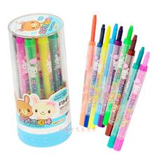 查看爱好12色儿童旋转油画棒无毒环保可水洗蜡笔美术画材批发 68021