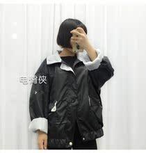 查看秋冬韩版学院风大码女装原宿撞色两面穿宽松短款工装风衣外套女潮