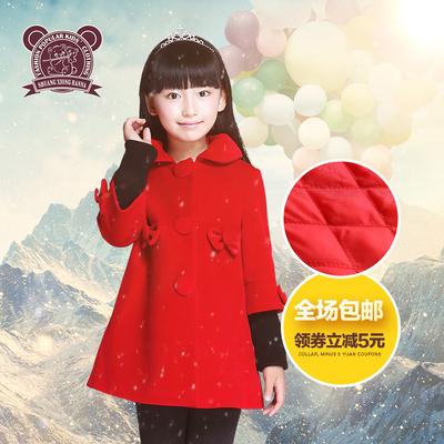双熊班纳女童装毛呢大衣中长款2015新秋冬中大儿童加厚呢子外套韩