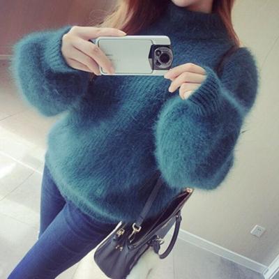 女装冬季加厚长袖短款半高领貂绒马海毛宽松套头灯笼袖兔毛毛衣女