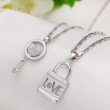 查看s925纯银吊坠钥匙锁男女创意学生情侣项链一对日韩版首饰生日礼物