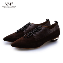 vme舞魅 秋季新品女鞋 个性系带尖头低跟真皮单鞋VS4C6238