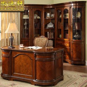 欧式组合书柜 美式转角书柜 5层带门书柜 实木书柜书桌 书房家具
