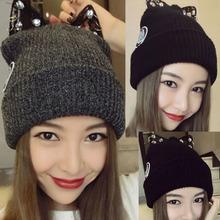 查看韩国代购蕾哈娜同款蕾丝水钻可爱猫耳朵针织毛线帽子女秋冬天新款