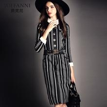 爵梵尼2017春夏新款女装欧美大牌条纹裙修身显瘦中长款腰带连衣裙