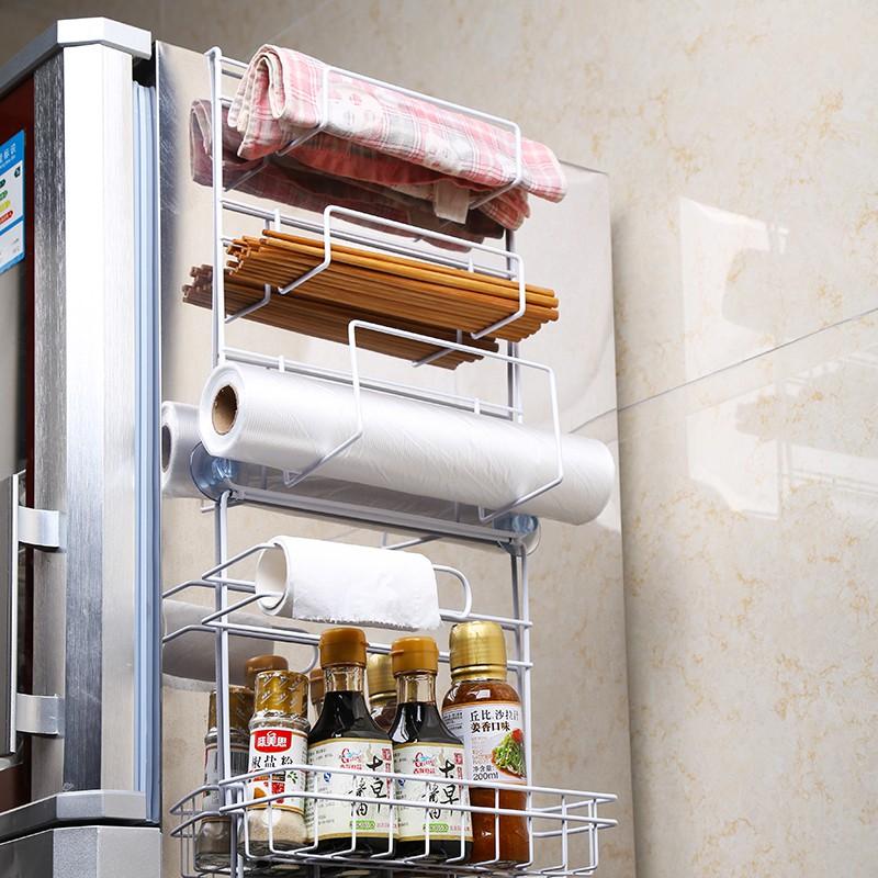 冰箱挂架厨房用品置物架 壁挂调味料保鲜膜放置区 吸盘冰箱侧壁架