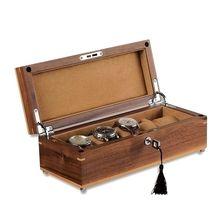罗威 美国黑胡桃木手表盒 纯实木质五只装机械表收藏盒首饰收纳盒