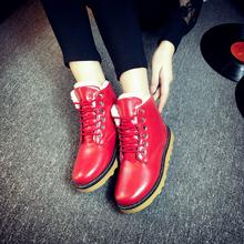 秋冬短靴雪地靴女棉鞋平底平跟英伦风加绒加厚短筒马丁靴系带女靴