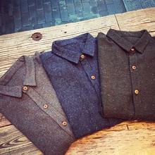 查看TIM呆呆秋冬日系复古彩点羊毛呢料木扣衬衫 男装原创冬装衬衣