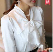2017秋装新款韩版蝴蝶结衬衫大码气质秋款打底衬衫修身长袖衬衣女