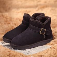 查看冬季情侣鞋低帮短筒雪地靴男搭扣真皮牛皮保暖棉靴子男女短靴加厚