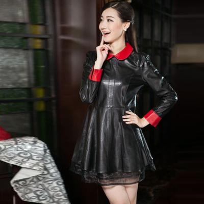 2015欧洲站秋冬新款品质女装海宁版绵羊皮真皮连衣裙长袖修身皮裙