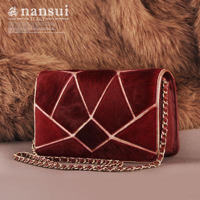 包邮Nansui正品羊皮马毛麦几何撞色链条迷你斜跨单肩真皮时尚女包