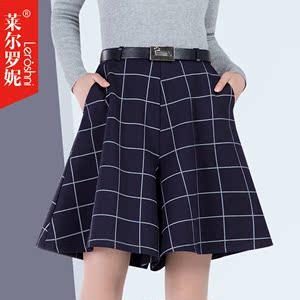 2015秋冬新款阔腿裤女短裤格子宽松休闲裤显瘦五分裤大码裙裤中裤