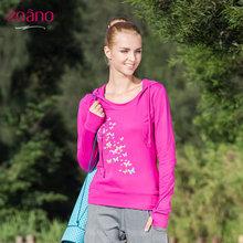 查看佐纳女装长袖T恤透气 运动跑步针织帽衫 显瘦修身套头卫衣瑜伽衣