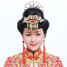 新娘头饰品结婚配饰红色中式流苏发插中式古装秀禾发饰龙凤褂发梳