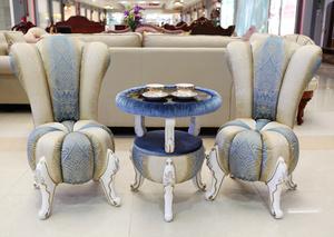 气排行 阳台小桌椅欧式洽谈接待桌椅组合休闲茶几卧室三件套实木布