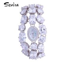 正品SAVINA莎维娜女表时尚珠宝手表气质腕表石英表潮流防水时装表