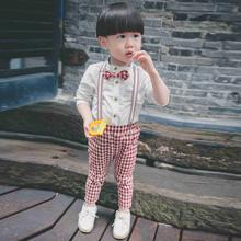 秋装新款童装男童背带裤绅士风格子背带裤长裤小脚裤宝宝儿童裤子