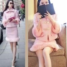 查看秋冬新款长袖兔毛毛呢时尚套装女两件套 小香风名媛淑女包臀套裙