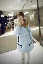 QQQINGLU子佩2017秋冬新款大毛领中长款羽绒服女韩版学生加厚外套