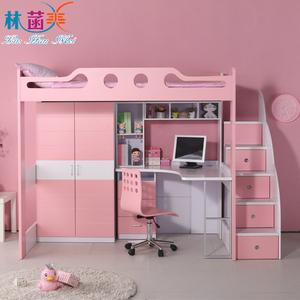 上下组合衣柜书桌床人气排行 儿童家具带书桌衣柜床男孩女孩上下一体
