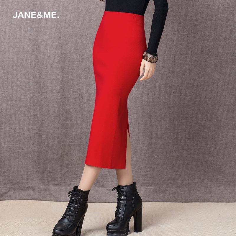 简咪2015秋冬季新款针织半身裙女长裙包臀后开叉铅笔裙毛线一步裙