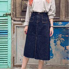 查看Chuu韩国代购直邮 秋女装 深蓝色开叉牛仔裙 A字裙 长裙 半身裙