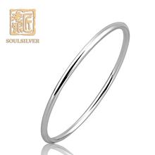 老银匠银手镯 925饰品时尚韩版细圈光面圆条 简约简单银镯子