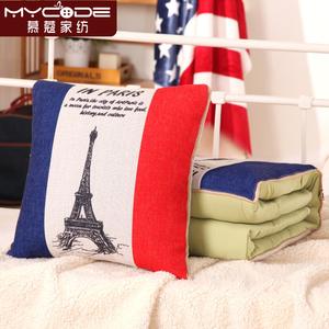 棉麻抱枕被子两用 靠垫被腰靠垫办公室夏凉被沙发汽车午休空调被