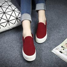 远波秋季新款懒人女帆布鞋百搭纯色乐福鞋松糕跟厚底单鞋子学生鞋