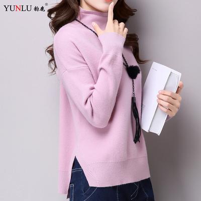 开叉高领毛衣女宽松套头前短后长打底衫纯色短款针织衫长袖秋冬潮
